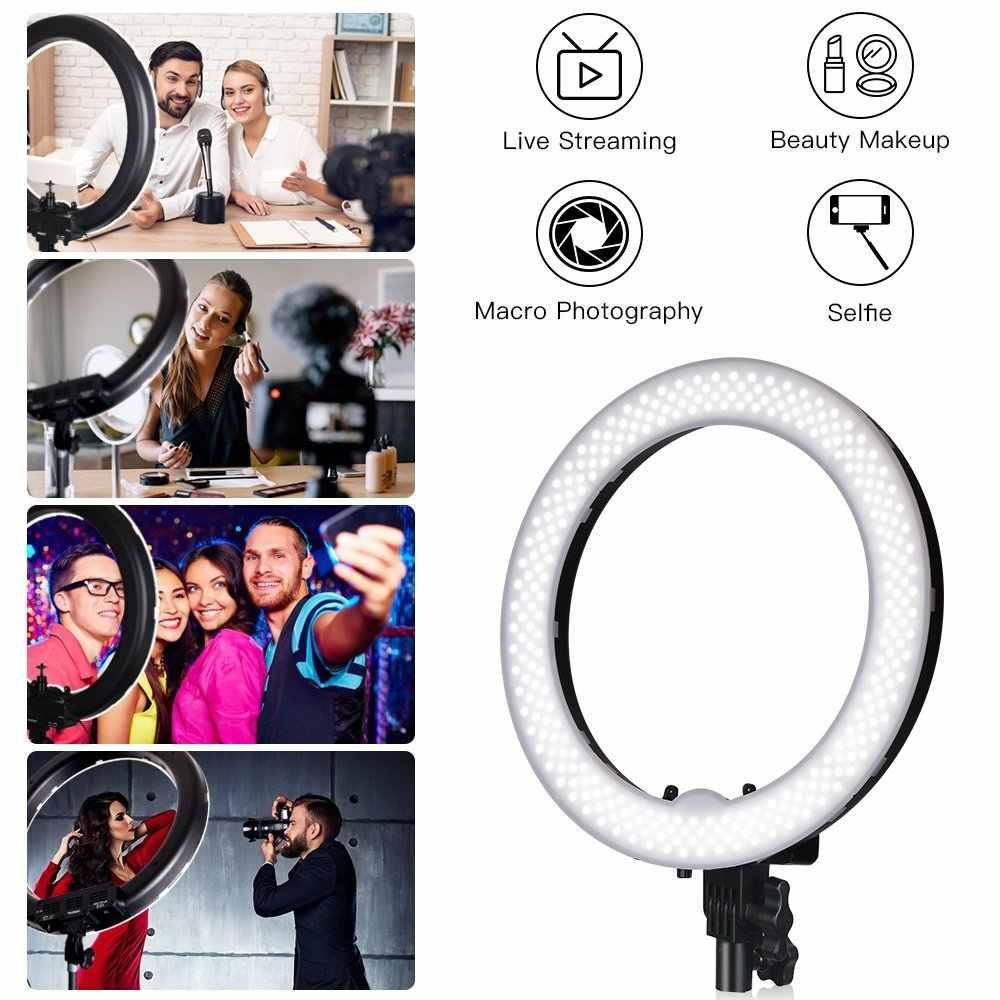 """Spash 18 """"anel de luz led anular lâmpada espelho maquiagem anel luz para youtube vlog câmera ringlight com tripé 240 led 5500 k cri90"""