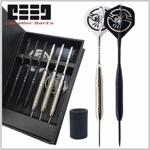 Image 1 - 6 PCS Professional Branco/PRETO Dardos Com Caixa livre 25g Aço Tip Darts com Ferro Cano De Cobre para indoor Jogo de Esportes