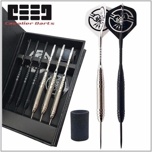 6 PCS Professional Branco/PRETO Dardos Com Caixa livre 25g Aço Tip Darts com Ferro Cano De Cobre para indoor Jogo de Esportes