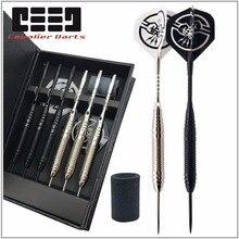 6 Pcs Professionele Wit/Zwart Darts Met Gratis Case 25G Steel Tip Darts Met Ijzer Koper Vat Voor indoor Spel Sport