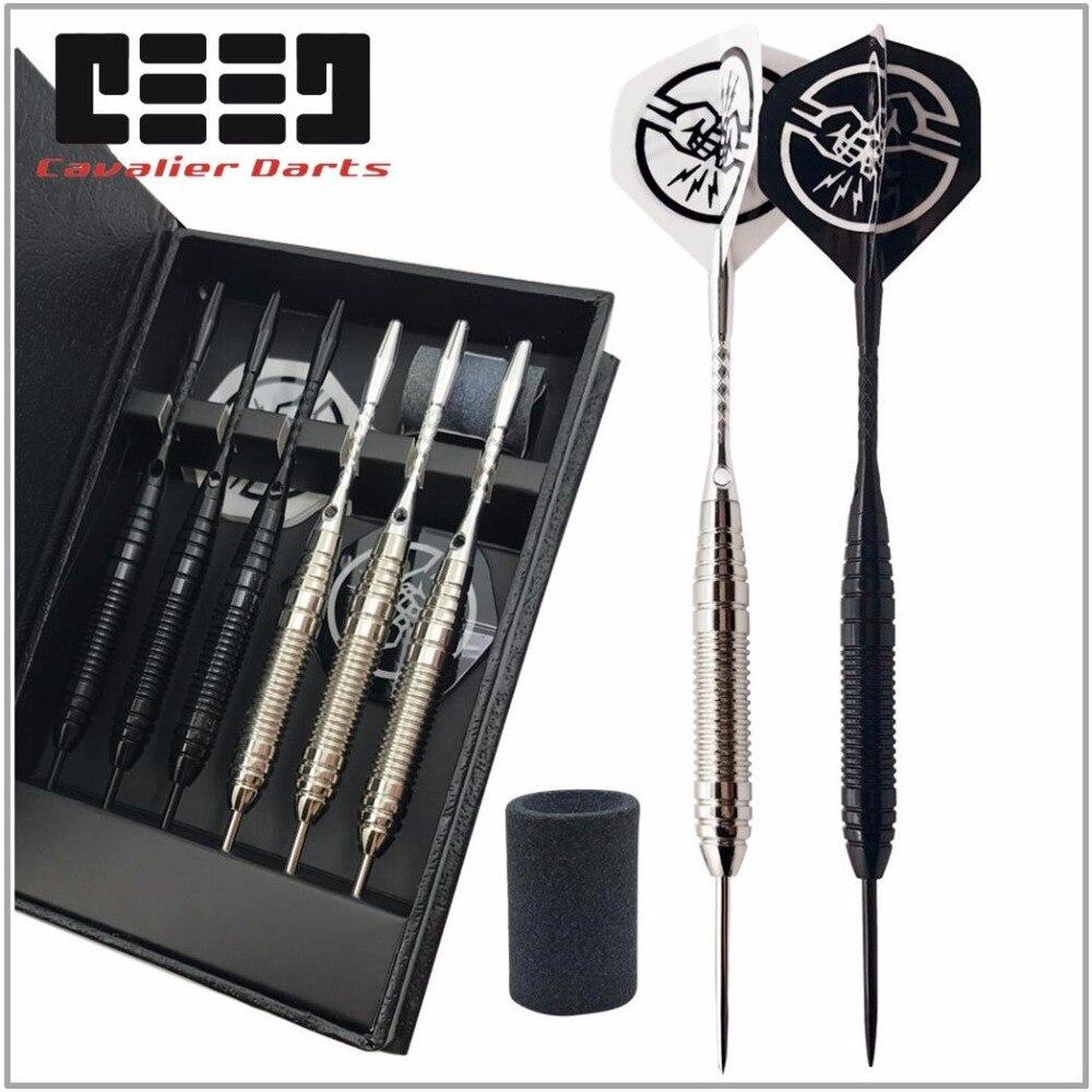 6 pçs profissional branco/preto dardos com caso livre 25g aço ponta dardos com barril de cobre ferro para esportes de jogo indoor