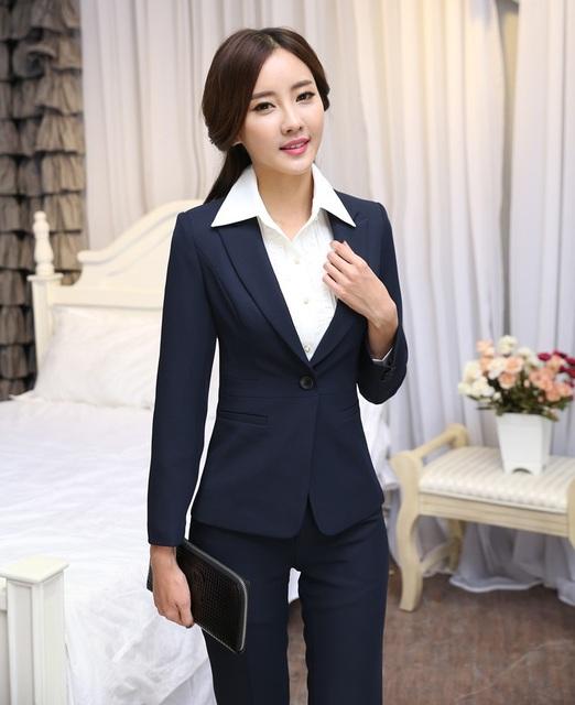 New Outono Inverno Projeto Uniforme Feminino Pantsuits Formais Calças Desgaste Do Trabalho Ternos Blazers Jaquetas E Calças Das Mulheres de Negócios