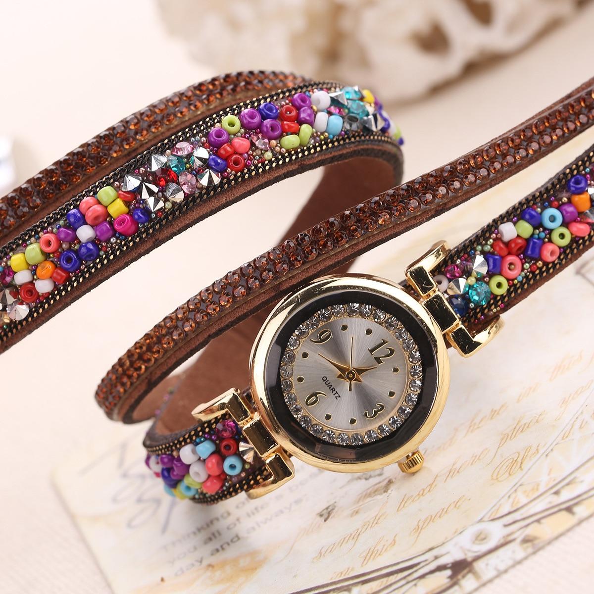 Fashion Luxury Leather Watch Kvinnor Classic Crystal Decor Armband - Damklockor - Foto 5