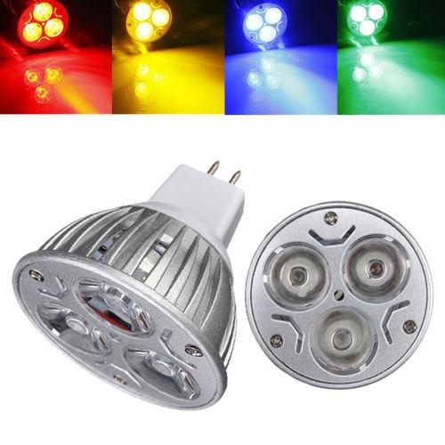 Big Promotion MR16 3 LED Energy Saving Spotlight Down Light Home Lamp Bulb DC12V Red/Yellow/Blue/Green