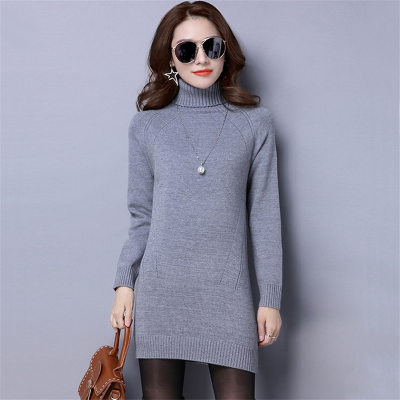 2017 Plus Size Women Winter Dress Turtleneck Pullover Long Sleeve Knitted Sweater Dress Slim Sexy Dress Casual Basic Dress plus size double pockets knitted dress