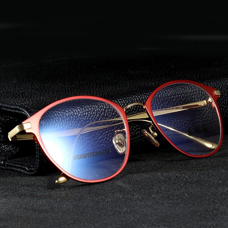 2463b100add76 EOOUOOE 100% Titânio Puro Rodada Mulheres Óculos Feminino Óculos Prescrição  Óptica Gafas Oculos de grau Óculos de Miopia Quadro