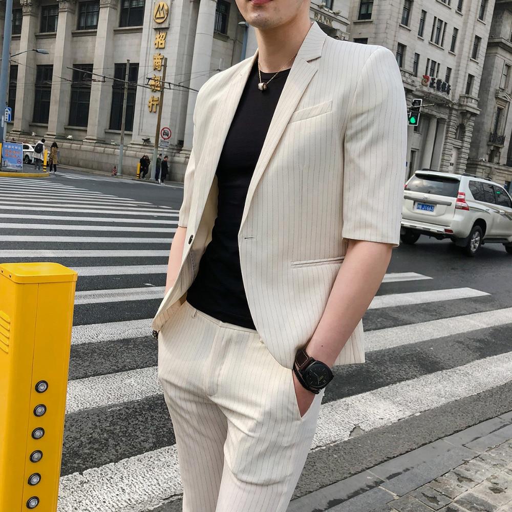 Noir Leisure Mince Costume avant Étudiant Masculin Jeunesse Mâle Section Série Manches Suit ardoisé Coréenne Pantalon Été Mariage blanc Affaires B11F6