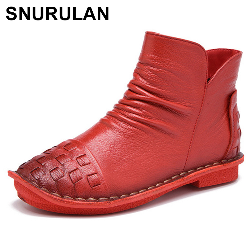 SNURULAN Genuine Leather Ankle Boots 2017 Autumn Fashion Woven Pleated Zipper Women Short Boots Soft High Top Flat Casual Shoes pleated frill trim tube top