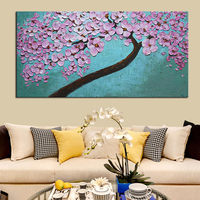Ağır Dokulu Palet Bıçak Tuval Duvar Sanatı Kiraz Ağacı Resim El Boyalı Modern Soyut Çiçek Dekorasyon Yağlıboyalar