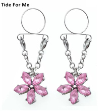 2pcs Pink  Flowers Non Pierced Clip On Fake Nipple Ring Body Jewelry Shield Cover Clamps Adult Sex Toy Piercing Adjustable Gift