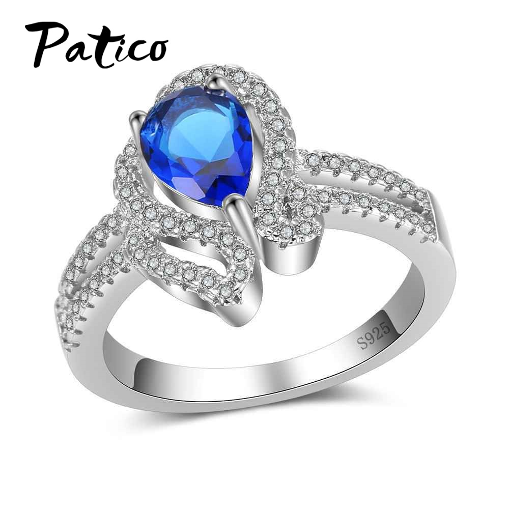 PATICO Top Quality Water Drop Cubic Zirconia Rings For Women 100% 925 Sterling Silver Romantic Lady Finger Ring Free Shipping