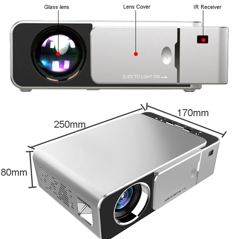 WZATCO T6 Android 9.0 WIFI Optional 2600lumen 720p HD Portable LED Projector HDMI Support 4K 1080p Home Theater Proyector Beamer-in LCD Projectors from Consumer Electronics    3