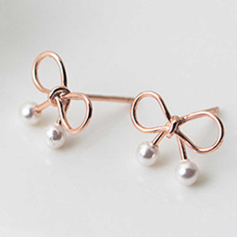 אמיתי 925 סטרלינג כסף יפה קשת פרל אוזן הרבעה זהב מתנה נשי נשי מתוק חמוד סגנון תכשיטים