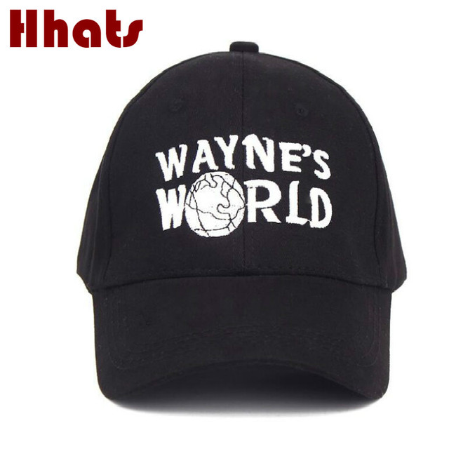 6d4624431d1 which in shower WAYNES WORLD dad hat black letter embroidery Halloween  Costume Party baseball cap adjustable trucker bone bonnet