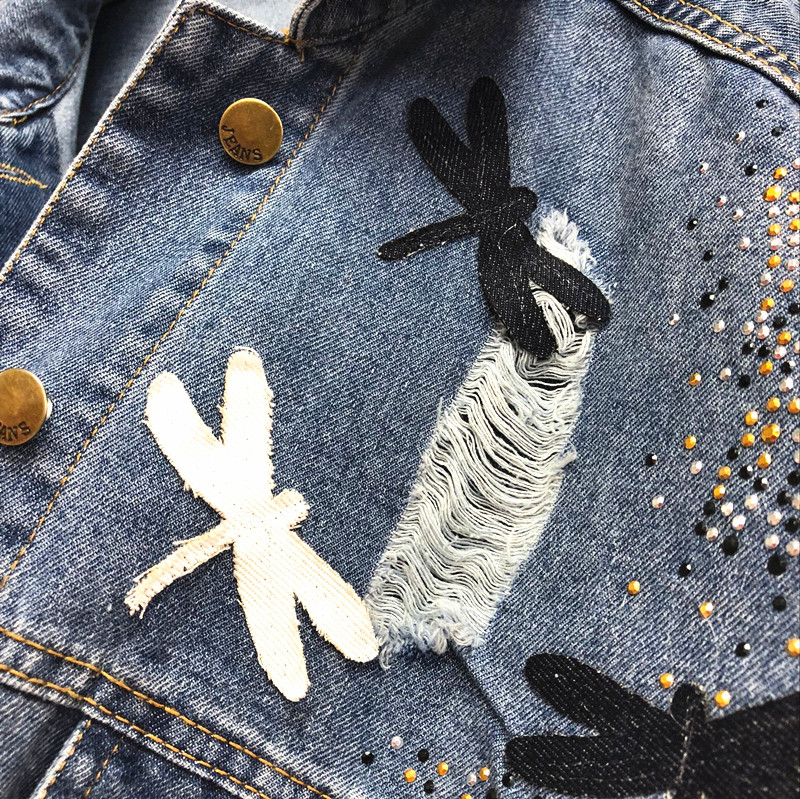 2018 New Autumn Women's Holes Jeans Jacket Female Casual Dragonfly Patch Loose Denim Coat All-match Long Sleeve Outwear 5