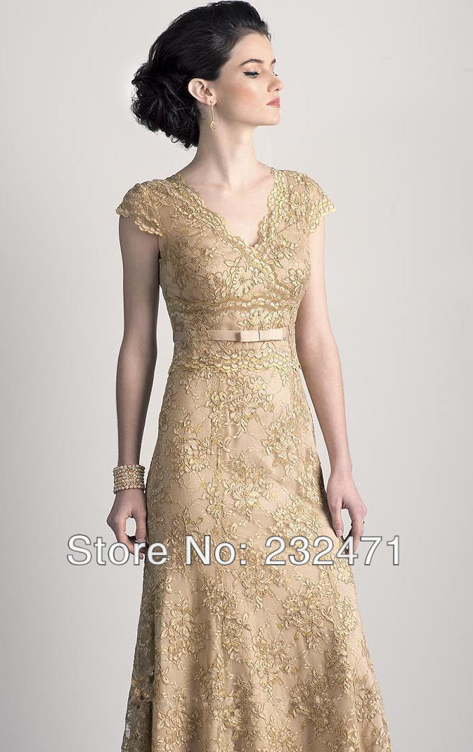 gold mother of the bride dress size women Laceoutfit evening