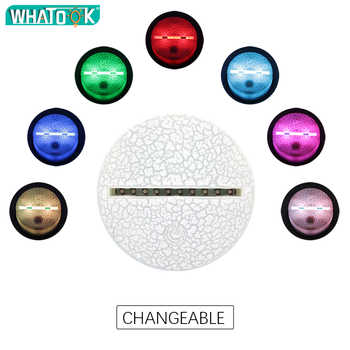 New 3D Lamp Alpaca Llama Nightlight Mood Lamp 7/16 Color Change Light Crack Base for Birthday Gifts Toys Kids Night Lights