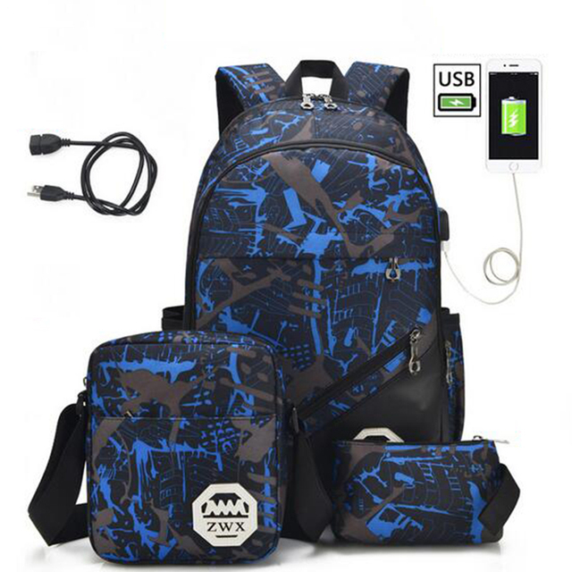 OZUKO 2019 Waterproof Nylon Men Backpack External USB Charge 15.6inch Laptop Bag School Backpack High Quality Women Notebook Bag