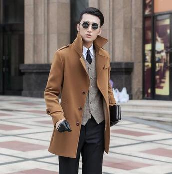 2016 winter autumn fashion single breasted mens woolen coats man long coat men clothes slim fit overcoat men sleeve big size 9XL