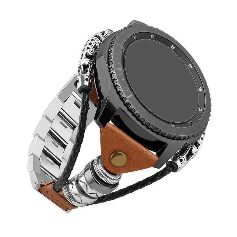 22mm pulseira de relógio de couro para samsung galaxy watch 46mm/gear s3 clássico/s3 fronteira aço inoxidável link substituir pulseira cinta