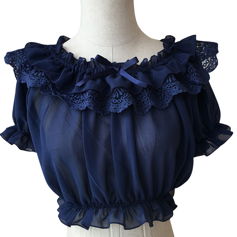 2019 Womens Chiffon Crop Topp sommar kortärmad blus med - Damkläder - Foto 2