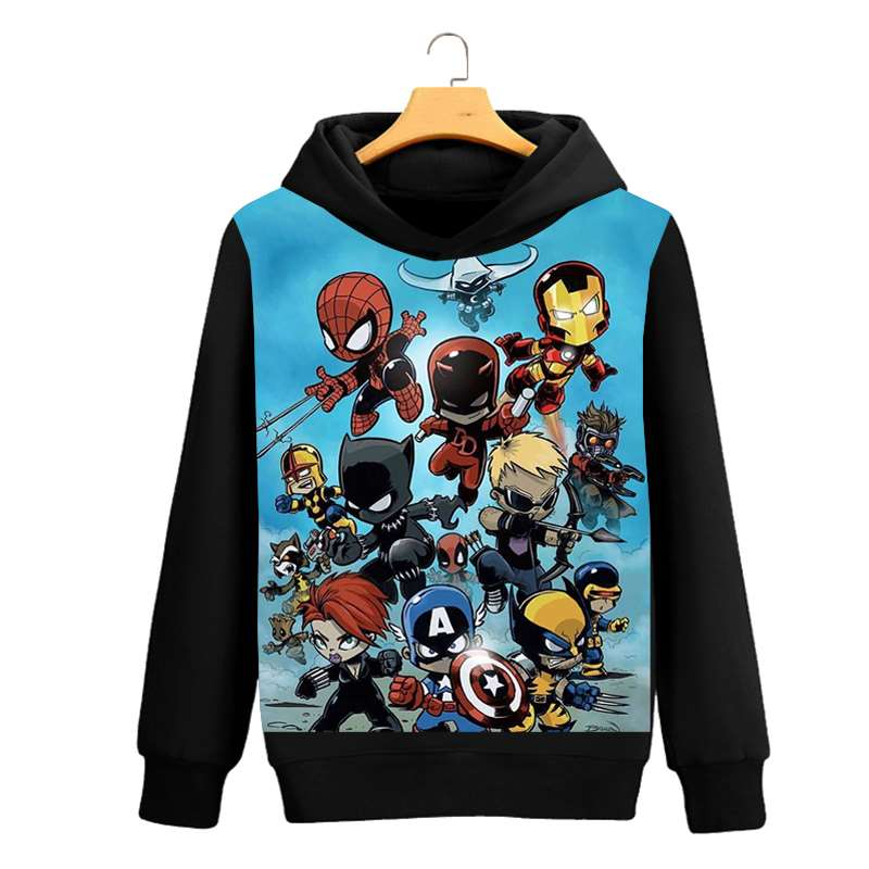 The Avengers Character Spider-Man Captain America Black Widow Fans Daily Quality Out Coat Hoodies Unisex Casual Sweatshirt 2019
