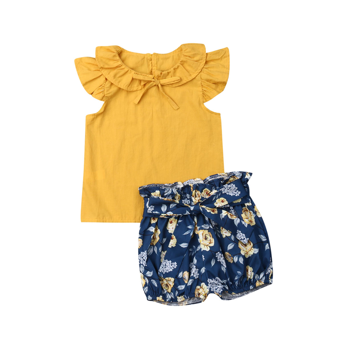 2Pcs Infant Toddle Baby Girl Floral Print Long Sleeve Top Yellow Bowknot Short Clothes Set