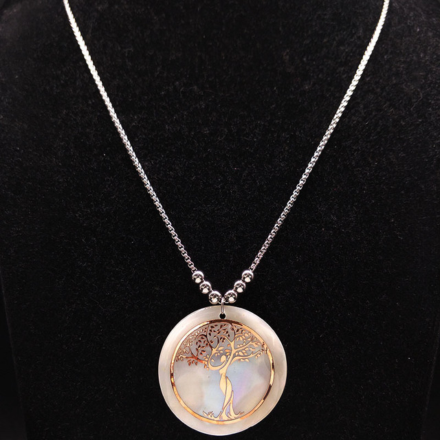 Tree of Life Rose Gold Color On Pearl Long Necklace 3