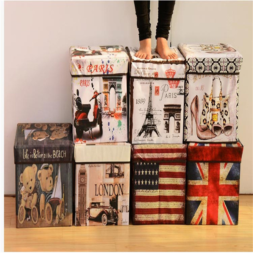 GWaroom Multi-function Non-woven Retro Folding Storage Stool Sit Box Shoes Stool Storage Box Organizer Home Decoration W0135