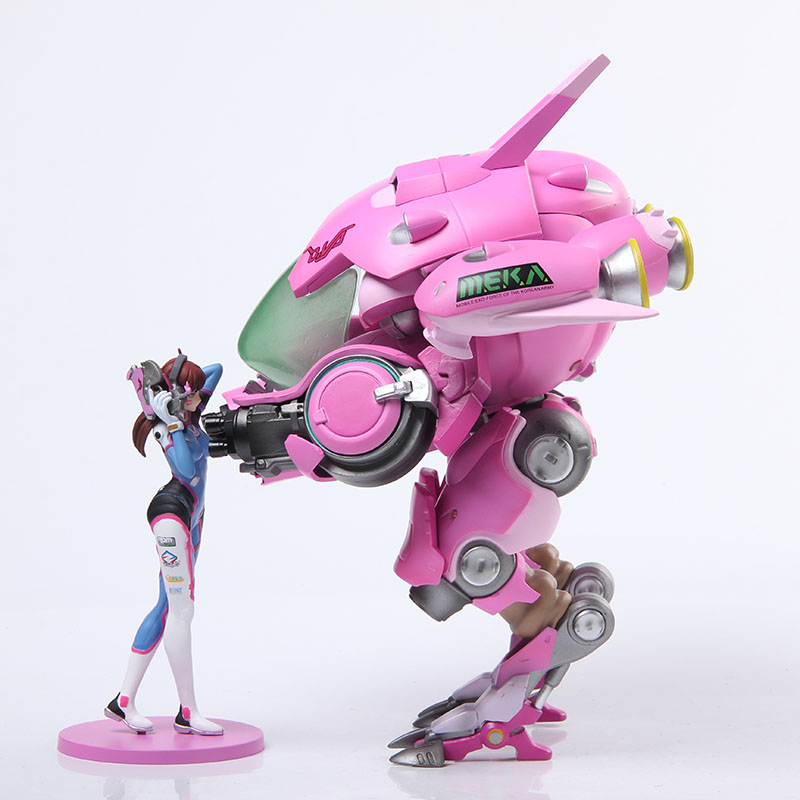 Free Shipping 10 Hot Game OW Hero Hana Song D.VA with Mecha Boxed 24cm PVC Action Figure Collection Model Doll Toy Gift free shipping 14 hot game hero caitlyn the sheriff of piltover boxed 35cm pvc action figure collection model doll toy gift