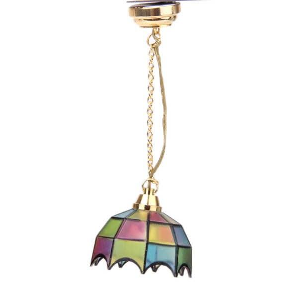 Nuevo 1:12 miniatura casa de muñecas de Metal chapado en oro lámpara de techo modelo en forma de paraguas lámpara de decoración de juguetes para los niños