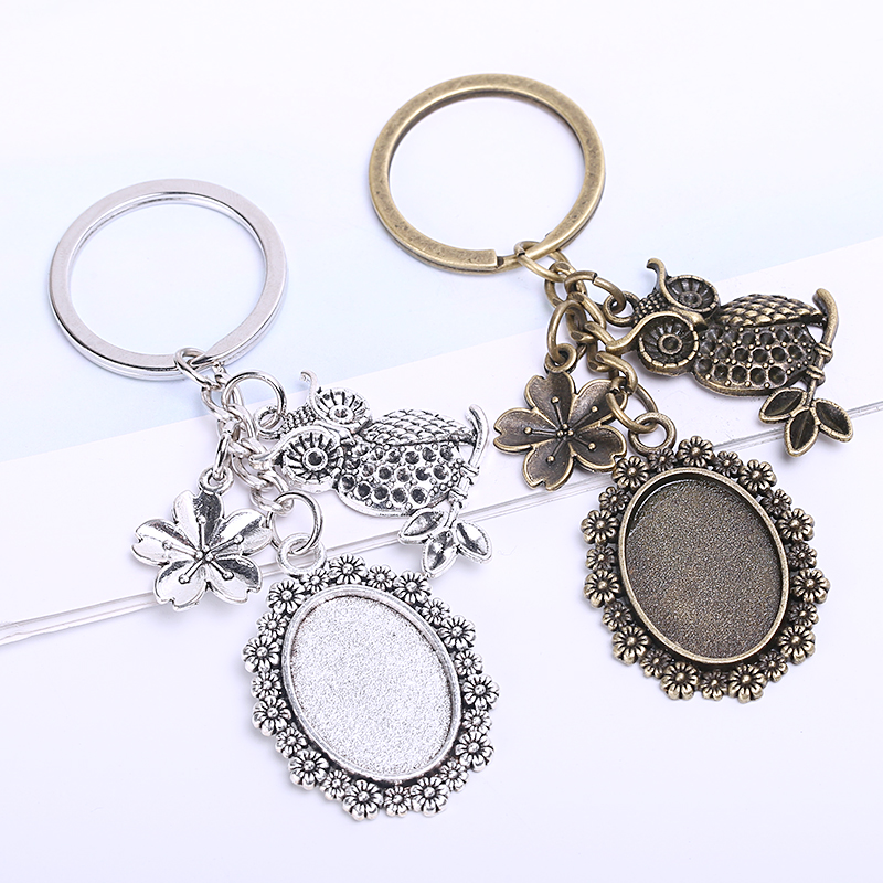 Vintage Metal Key Chains 18*25mm Oval Cabochon Setting DIY Jewelry Making Flower Owl Keychain For Women 5pieces/lot