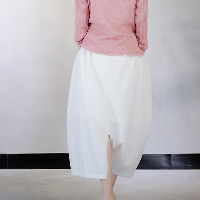 HTB13cx1jbZnBKNjSZFKq6AGOVXa6 - [EAM] 2019 New Spring White Cotton Linen Women Fashion Tide Circular Irregular Split Loose Casual  Cross-pants LA456