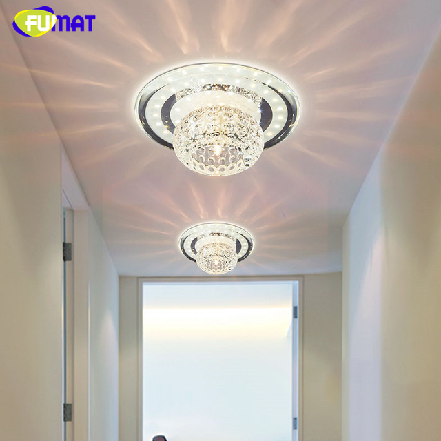 FUMAT Foyer Ceiling Lamps LED K9 Crystal Round Ceiling Lights 3W/5W/18W Living Room Hallway Home Decor Creative LED Lights