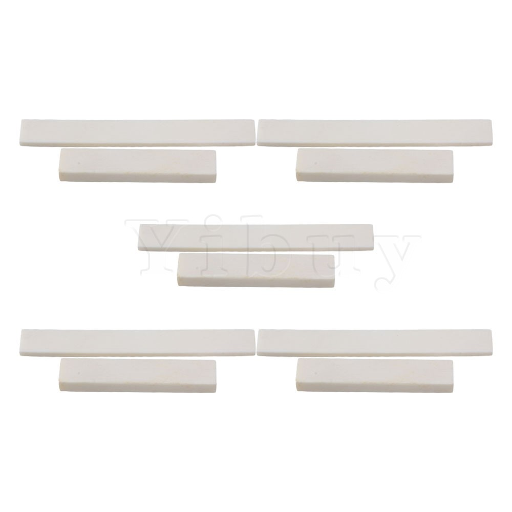 Yibuy 5 x Acoustic Guitar Classical Guitar Blank Bone Nut and Bridge Saddle White 1 kit classical guitar bone nut saddle rosewood bridge 12pcs bridge pins guitarra for guitar accessories and part kits