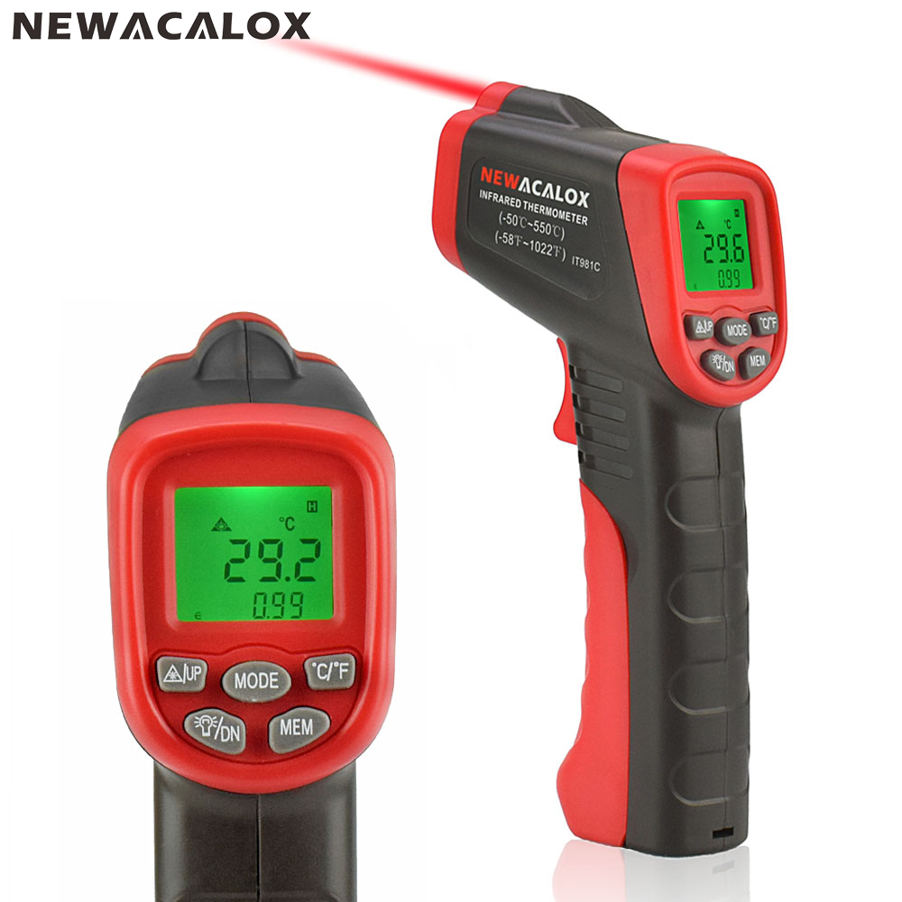 NEWACALOX Infrared LCD Display Digital Thermometer Industrial IR Laser Non-contact Temperature Tester Pyrometer Range -50~550 цена