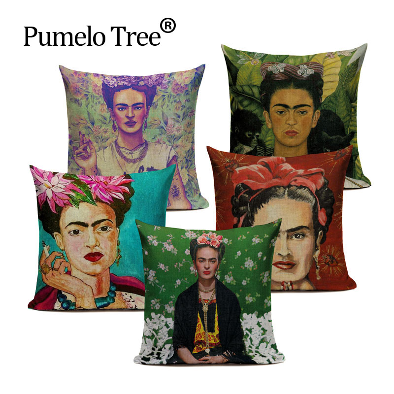 Cushion Cover Frida Kahlo Pillow Case Firm Flower Butterfly Throw Pillow Cover Self-portrait Sofa Bedroom Home Decorative