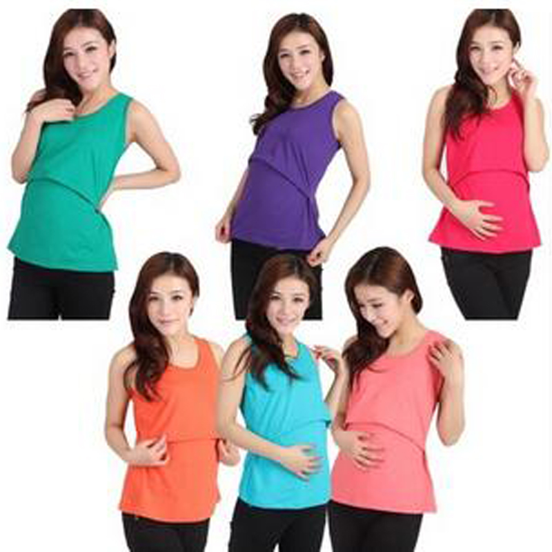 Nursing Maternity Clothes Summer Blouse Pregnant Tank Tops T Shirt Stretch Large Women With Breast Feeding Clothing Breast Vest