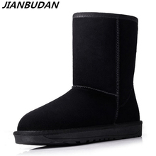 JIANBUDAN Cowhide Leather Warm Snow Boots Womens Winter Waterproof Cotton Boots Women plush snow shoes Fashion boots New 35 40