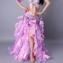 high Quality Women Sexy Side Split Belly Dance Costume Waves Skirt Multi-layer Lotus Leaf Belly Dancing Long Maxi Skirt