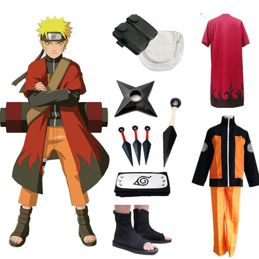 Full Set Naruto Uzumaki Naruto Cosplay costume Shippuden Uzumaki Naruto 2nd  Outfit Uniforms Set with Headband Halloween Costume