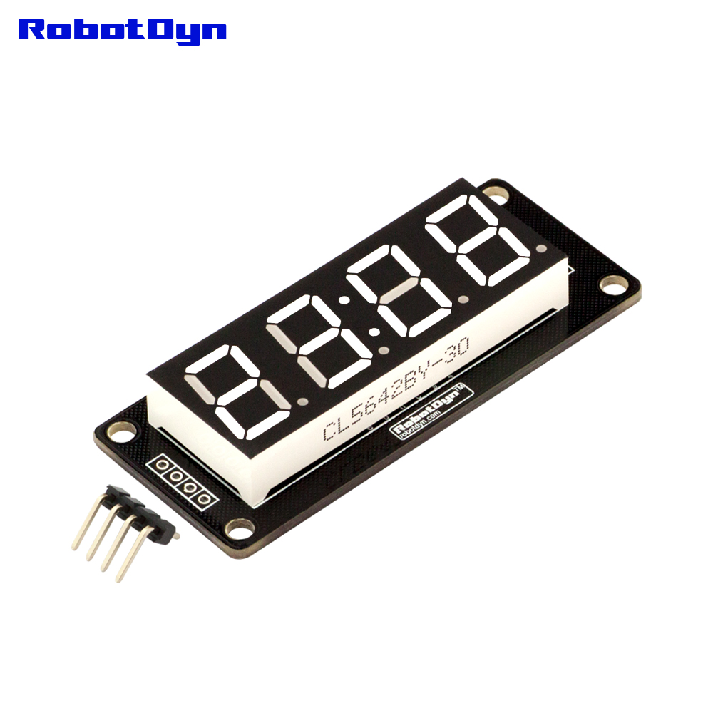4-Digit LED 0.56 Display Tube WHITE (clock, double dots), 7-segments, TM1637, disp. size 50x19mm