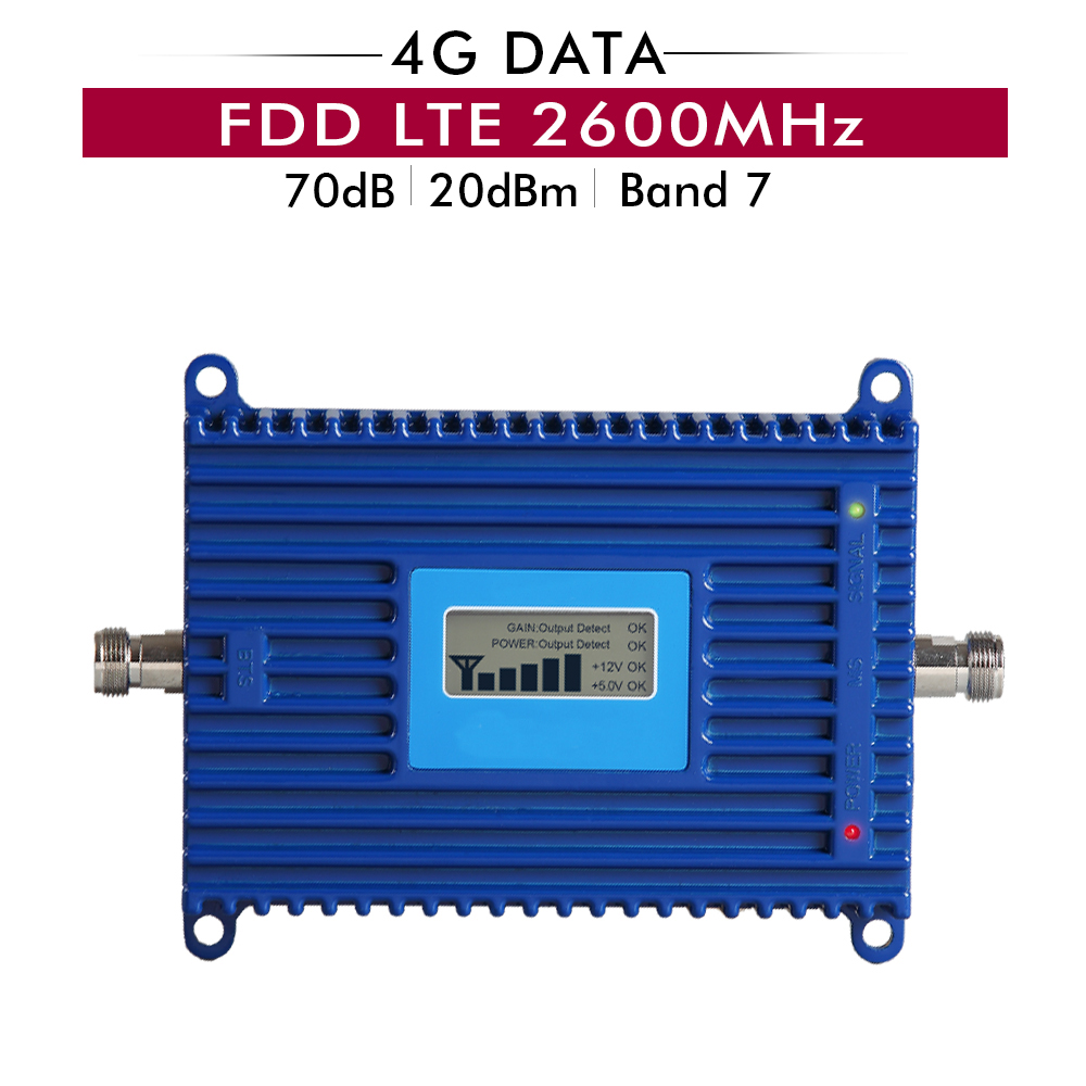 Gain 70dB 4G FDD LTE 2600 MHz amplificateur de Signal LTE bande 7 4G LTE 2600 mhz amplificateur de répéteur de Signal cellulaire Mobile avec écran lcd