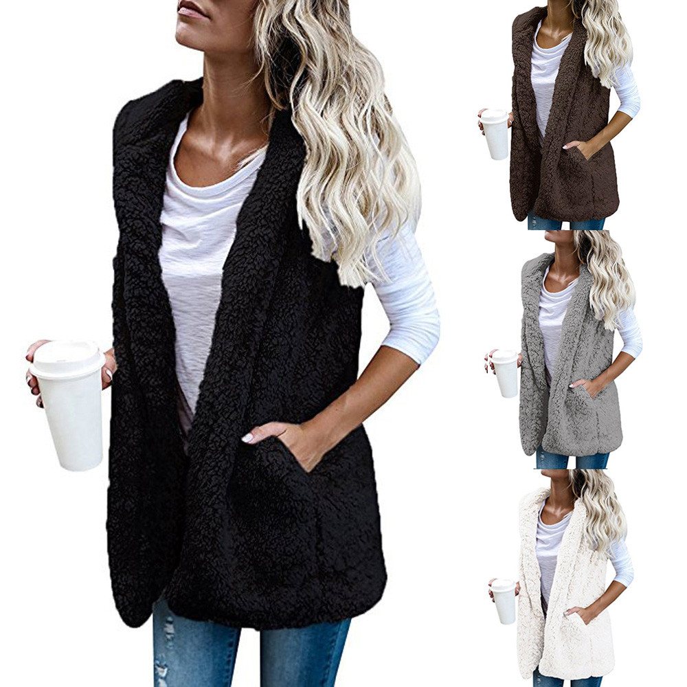 2018 Top Fashion Womens Vest Winter Warm Hoodie Outwear Casual Coat Faux Fur Zip Up Sherpa Jacket coat women chaqueta mujer
