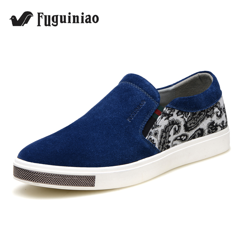Free shipping FUGUINIAO Cow Suede men s flat shoes loafers leisure shoes driving shoes color blue