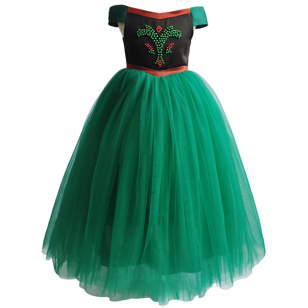 Princess Anna Costomus Halloween Girls Fancy Dresses Ball Gown Tulle Cartoon Figure
