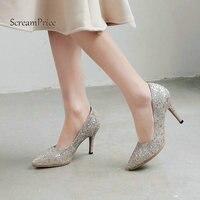 De Nieuwe Bling Dunne Hoge Hak Vrouw Lui Pompen Mode Puntschoen Jurk Hoge Hak Schoenen Dames Blauw Zwart Zilver goud