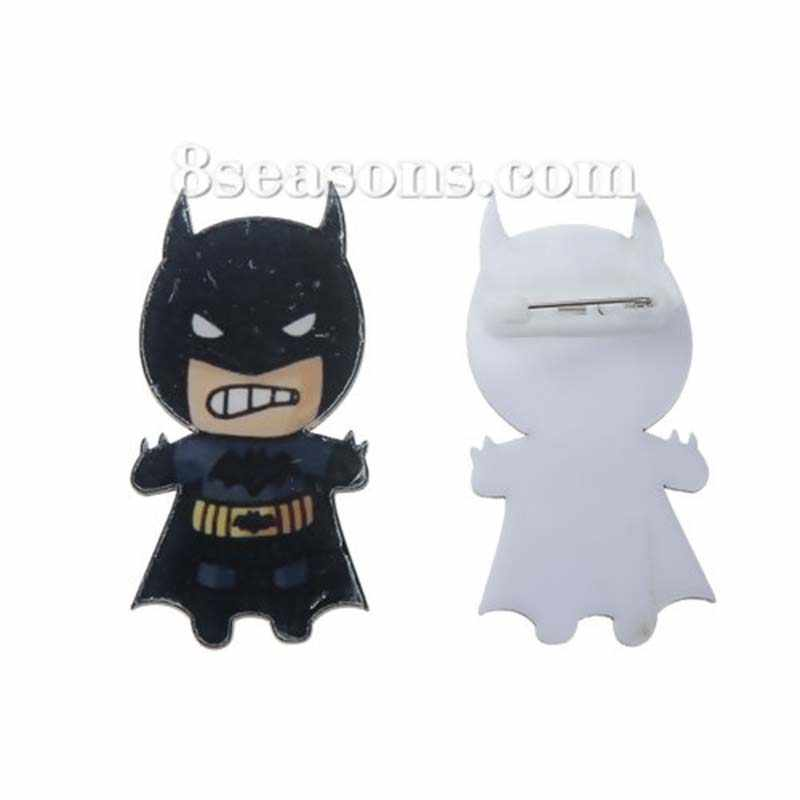 Cute Cartoon Acrylic black Batman shape badges Pins Brooch Icon Backpack Clothes Decoration Badge Brooches