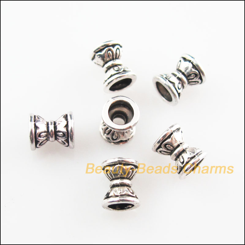 Hardware 30pcs Tibetan Silver Tone Flower Spacer Beads End Caps Charms 5x7mm Fasteners & Hooks
