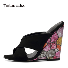 Wedges Shoes For Women Black High Heel Mules Ladies Wedge Sandals Comfort Slippers Floral Pattern Summer 2018